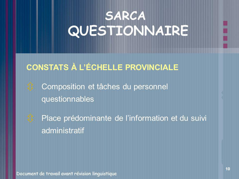 SARCA QUESTIONNAIRE CONSTATS À L'ÉCHELLE PROVINCIALE