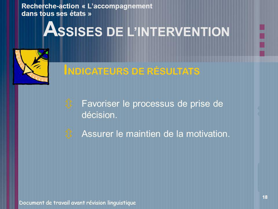 ASSISES DE L'INTERVENTION