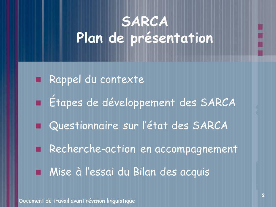 SARCA Plan de présentation