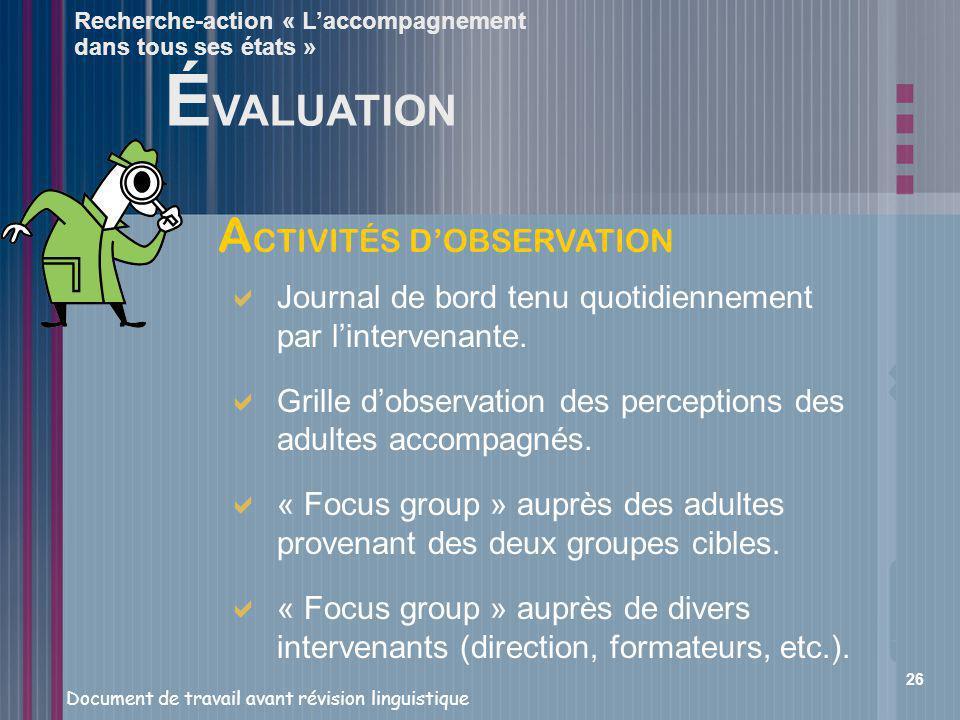 ÉVALUATION ACTIVITÉS D'OBSERVATION