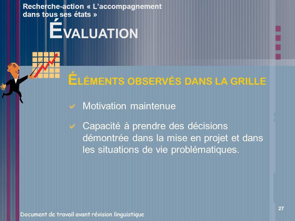 ÉVALUATION ÉLÉMENTS OBSERVÉS DANS LA GRILLE Motivation maintenue