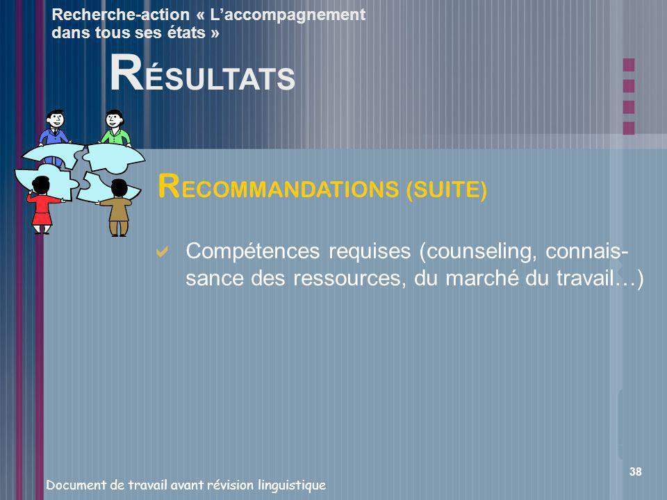 RÉSULTATS RECOMMANDATIONS (SUITE)