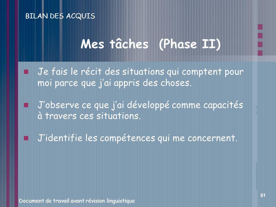 BILAN DES ACQUIS Mes tâches (Phase II)