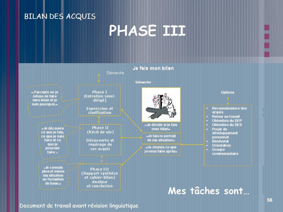 BILAN DES ACQUIS PHASE III