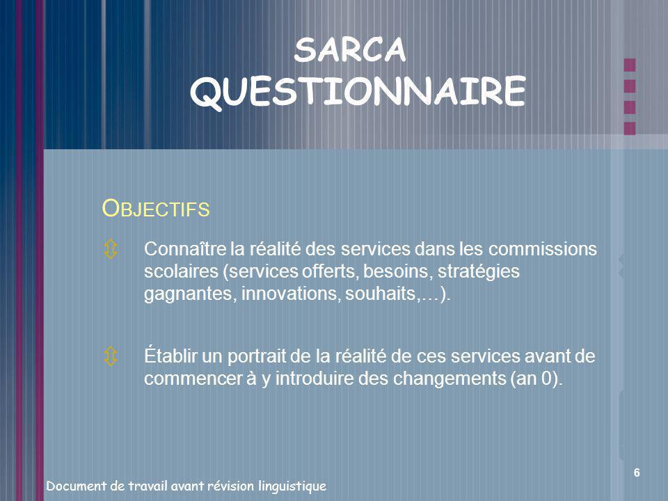 SARCA QUESTIONNAIRE OBJECTIFS