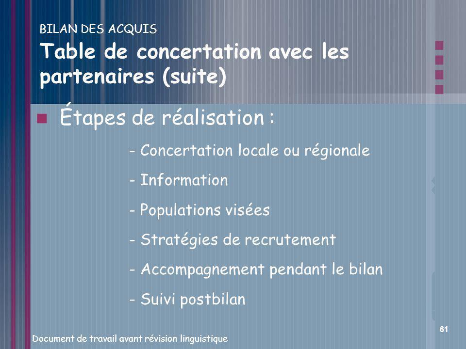 BILAN DES ACQUIS Table de concertation avec les partenaires (suite)