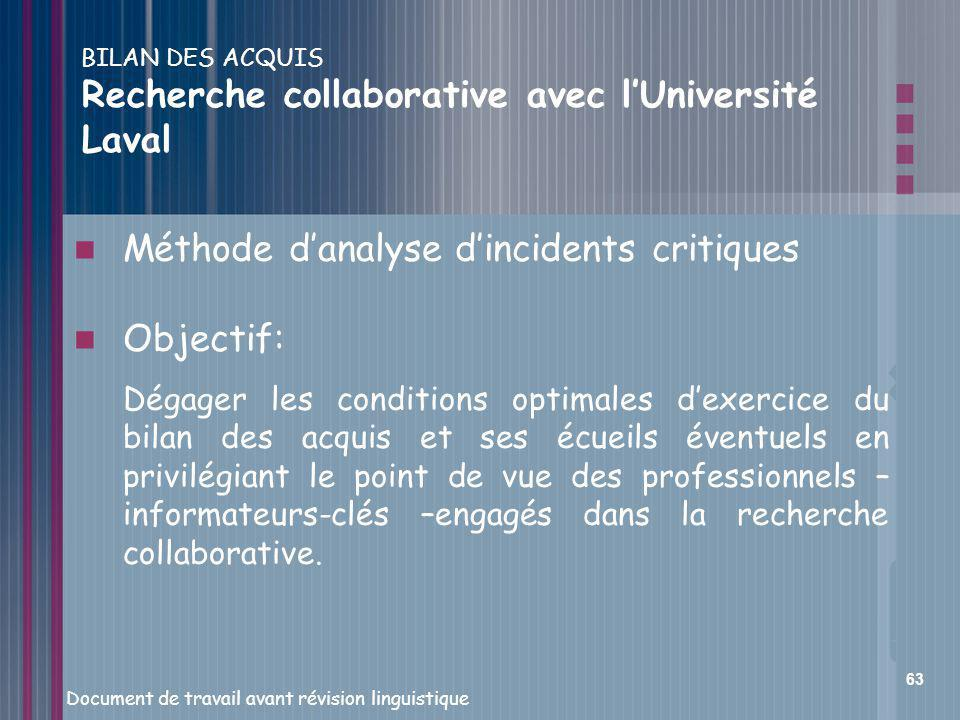 BILAN DES ACQUIS Recherche collaborative avec l'Université Laval