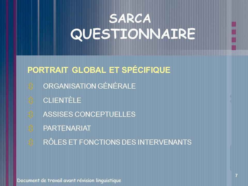 SARCA QUESTIONNAIRE PORTRAIT GLOBAL ET SPÉCIFIQUE