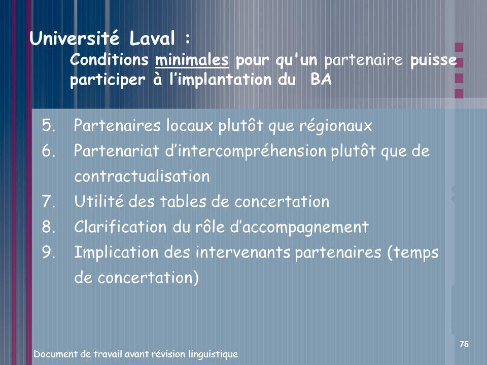 Université Laval : Conditions minimales pour qu un partenaire puisse participer à l'implantation du BA