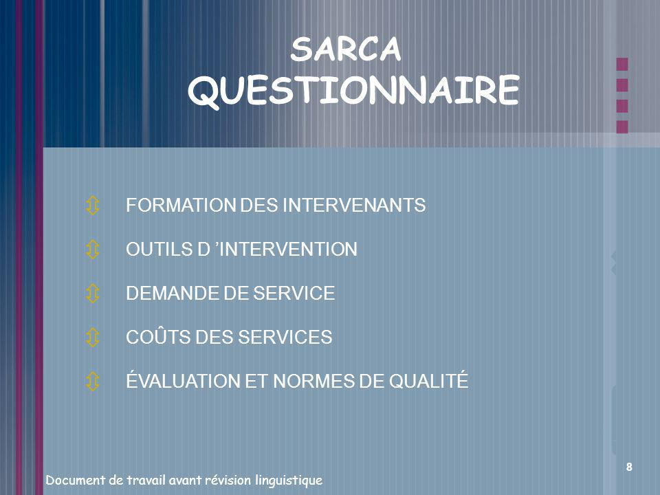 SARCA QUESTIONNAIRE FORMATION DES INTERVENANTS OUTILS D 'INTERVENTION