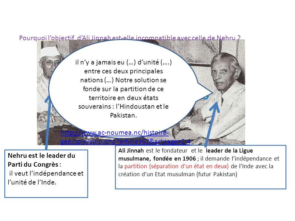Nehru est le leader du Parti du Congrès :