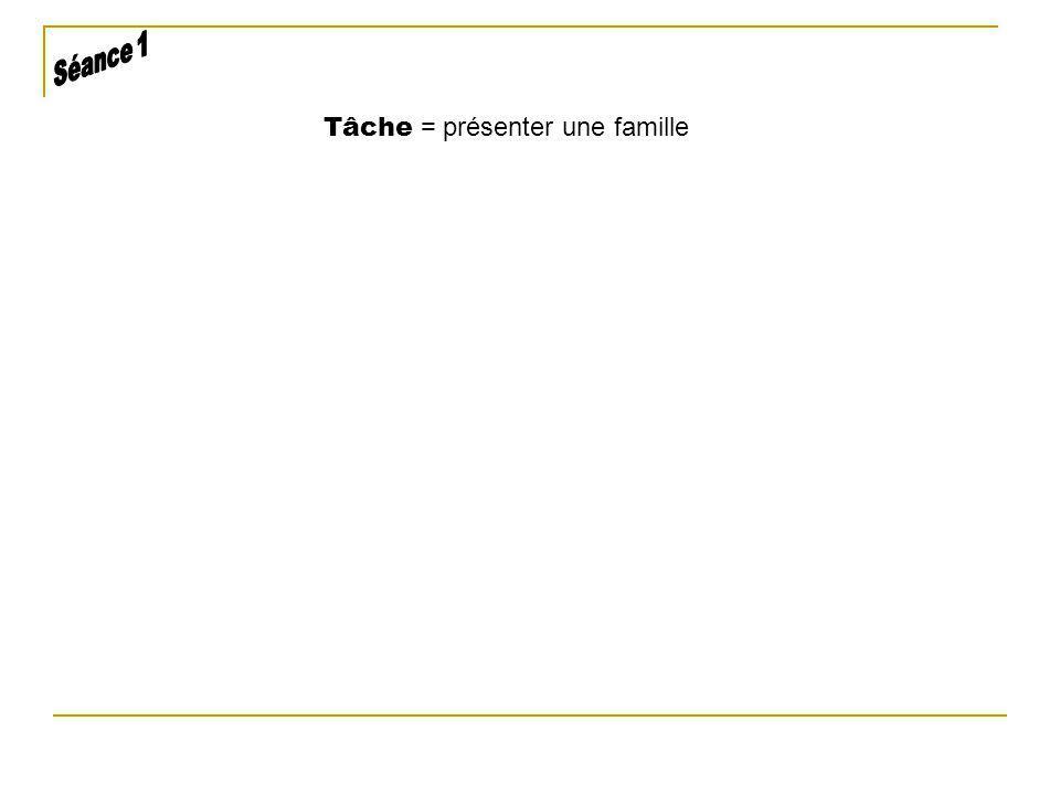 Tâche = présenter une famille