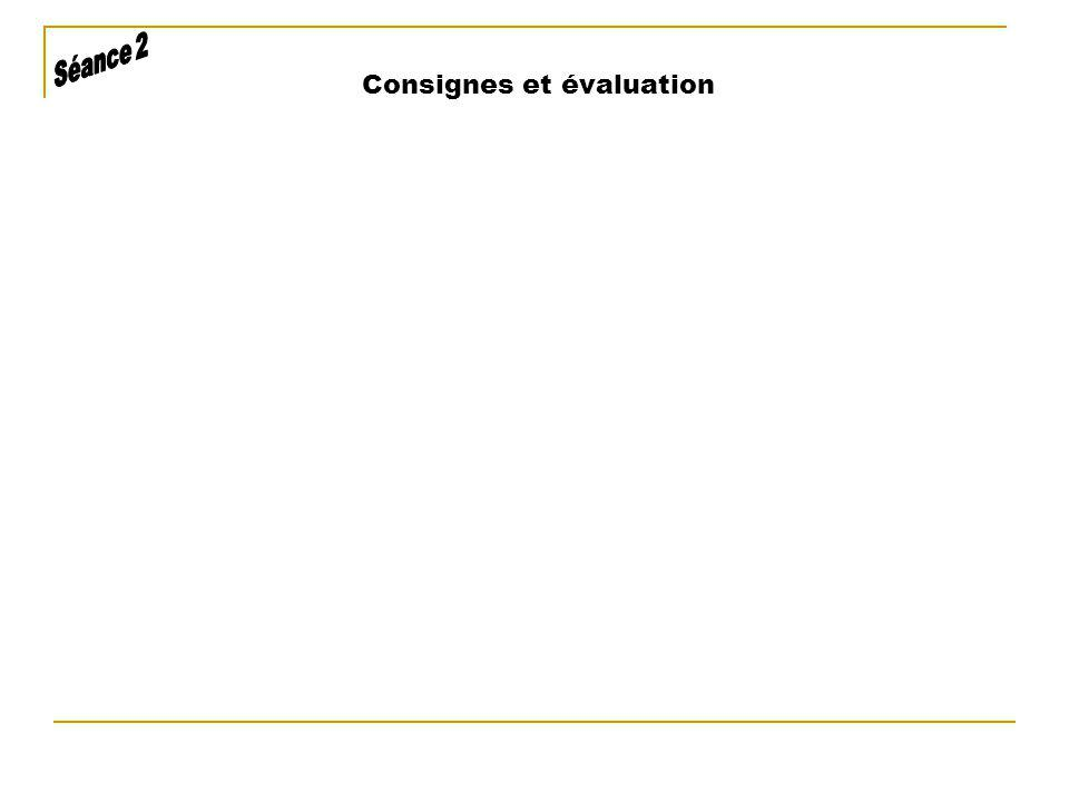 Consignes et évaluation