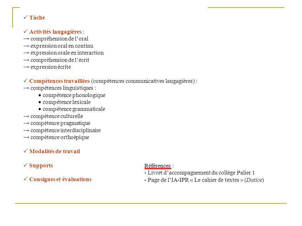  Tâche  Activités langagières : → compréhension de l'oral. → expression oral en continu. → expression orale en interaction.
