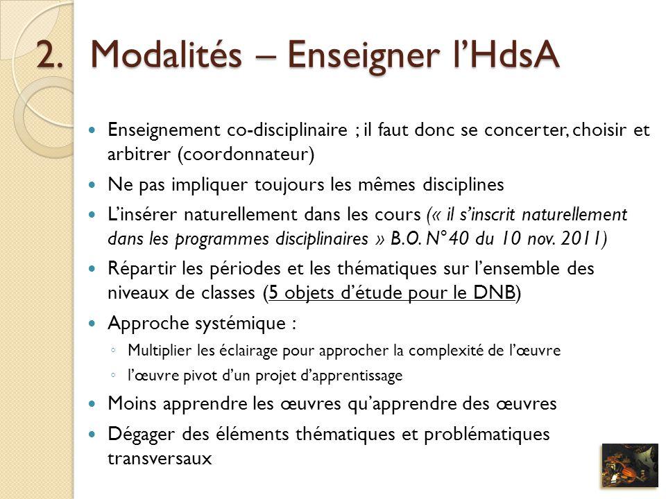Modalités – Enseigner l'HdsA