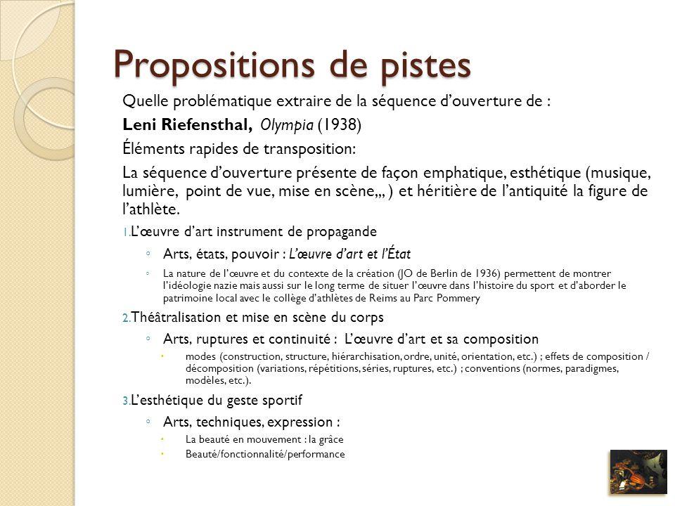 Propositions de pistes
