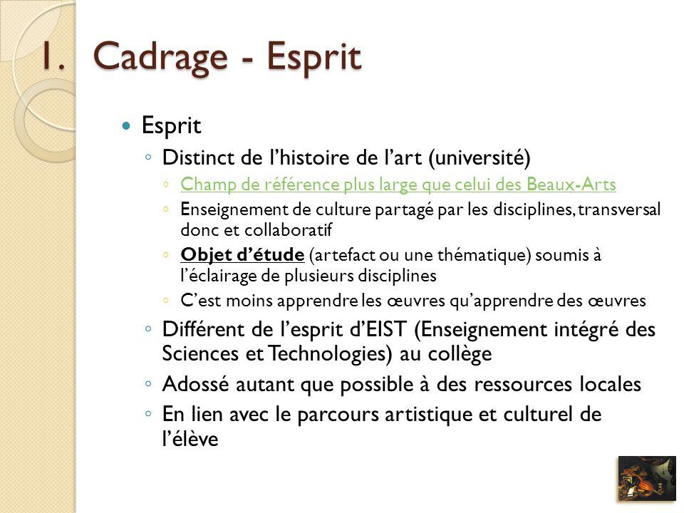 Cadrage - Esprit Esprit Distinct de l'histoire de l'art (université)