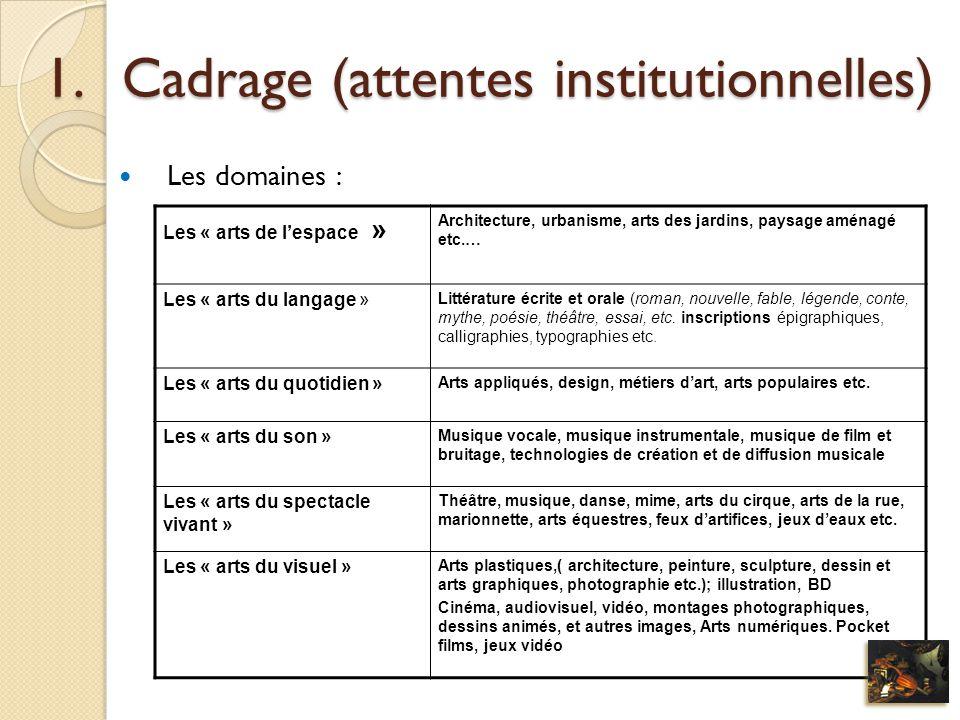 Cadrage (attentes institutionnelles)