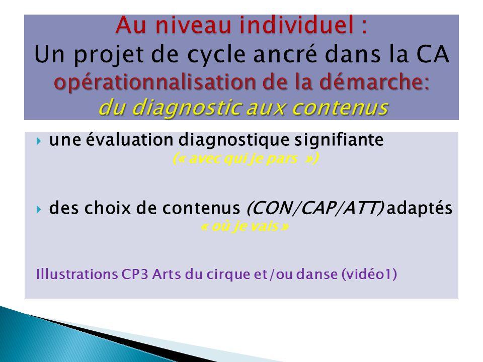 Au niveau individuel : Un projet de cycle ancré dans la CA opérationnalisation de la démarche: du diagnostic aux contenus