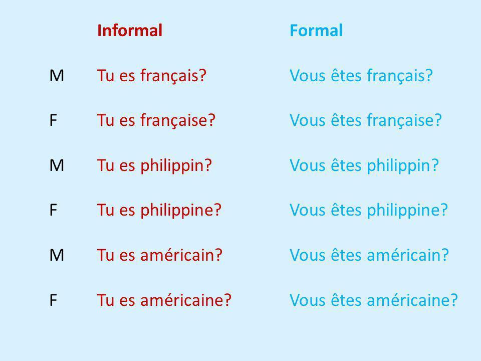 Informal Formal M Tu es français Vous êtes français F Tu es française Vous êtes française
