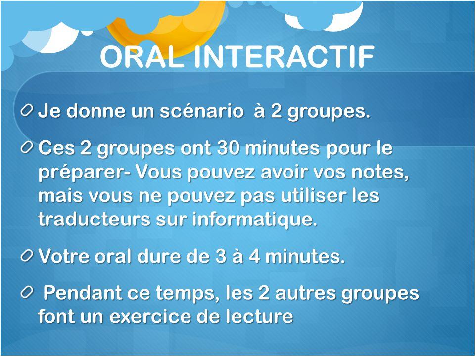 ORAL INTERACTIF Je donne un scénario à 2 groupes.