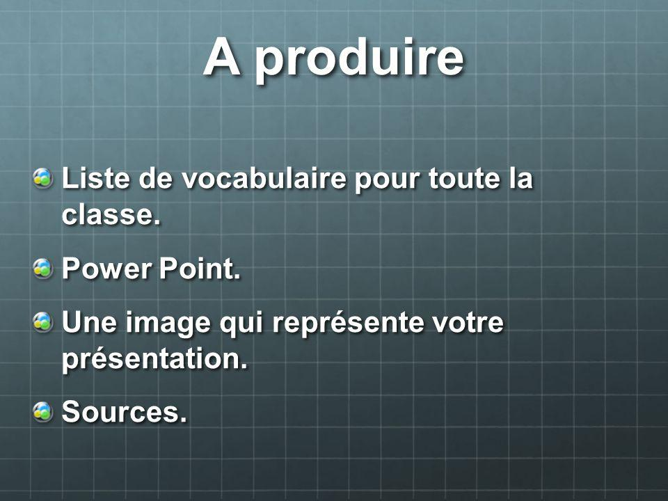 A produire Liste de vocabulaire pour toute la classe. Power Point.