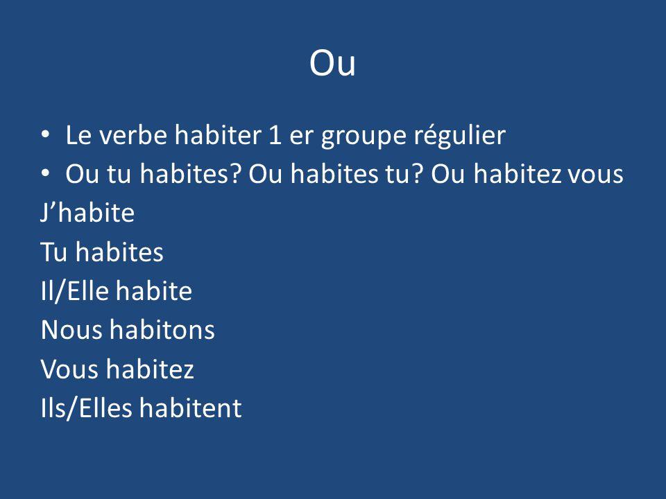Ou Le verbe habiter 1 er groupe régulier