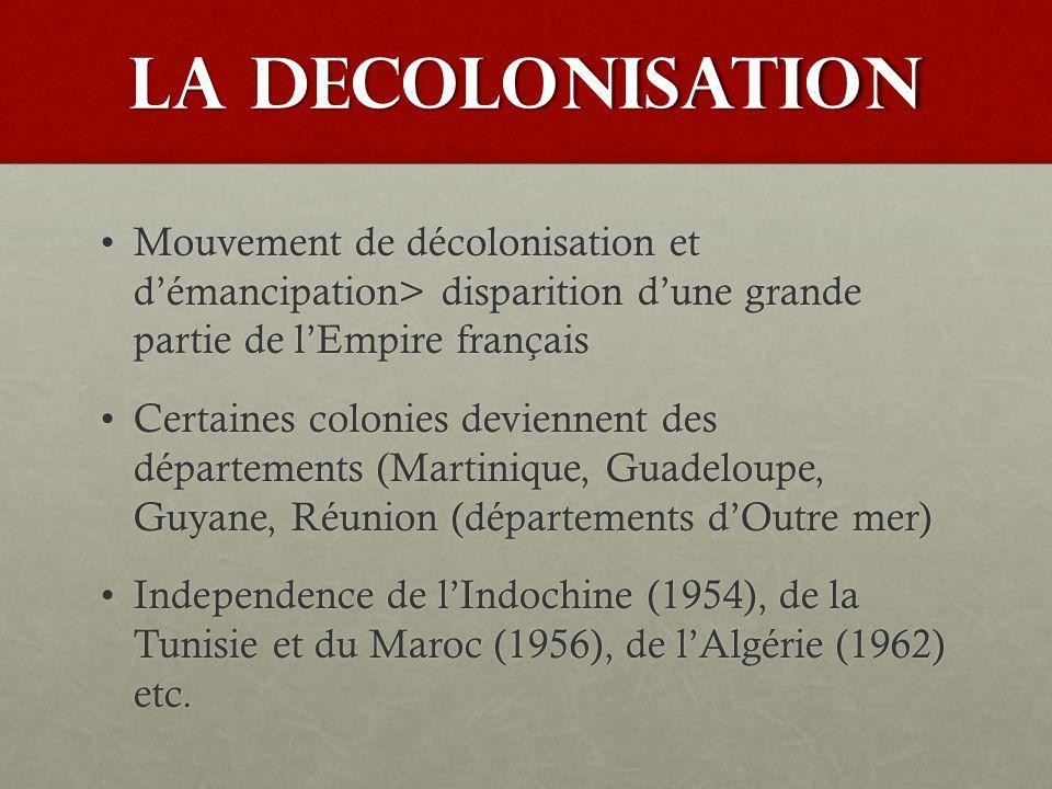 LA DECOLONISATION Mouvement de décolonisation et d'émancipation> disparition d'une grande partie de l'Empire français.