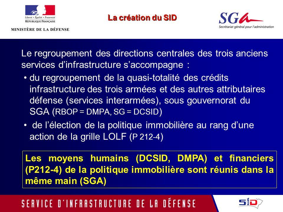 La création du SID Le regroupement des directions centrales des trois anciens services d'infrastructure s'accompagne :