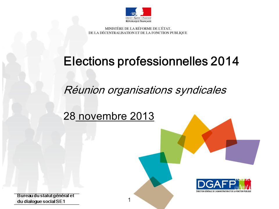Elections professionnelles 2014 Réunion organisations syndicales 28 novembre 2013