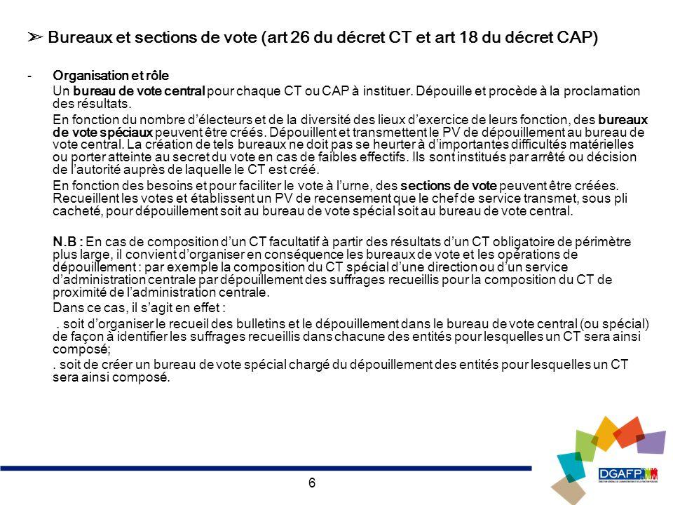 ➣ Bureaux et sections de vote (art 26 du décret CT et art 18 du décret CAP)