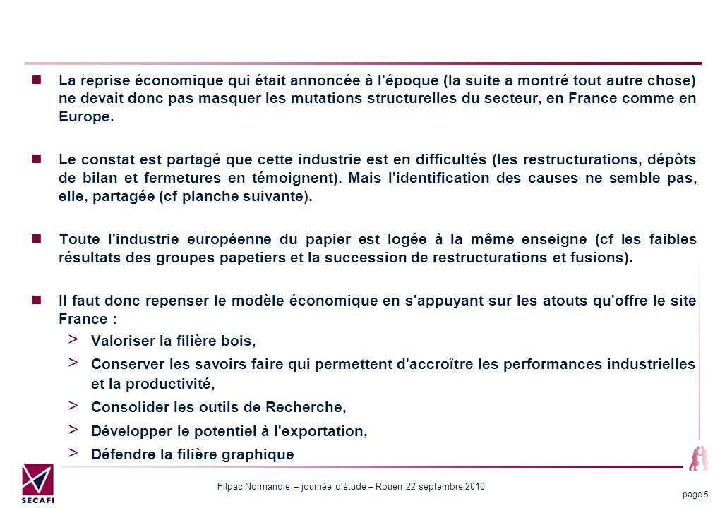 La reprise économique qui était annoncée à l époque (la suite a montré tout autre chose) ne devait donc pas masquer les mutations structurelles du secteur, en France comme en Europe.