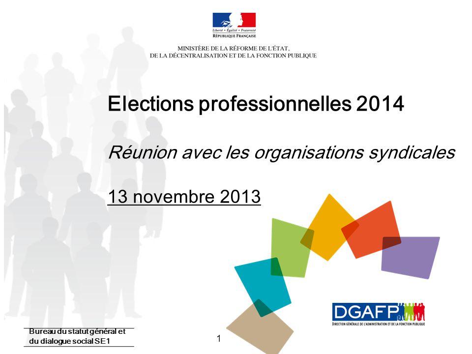 Elections professionnelles 2014 Réunion avec les organisations syndicales 13 novembre 2013
