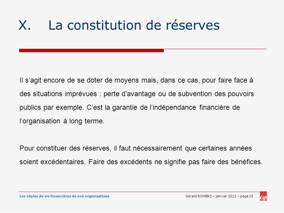 La constitution de réserves