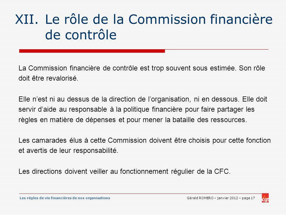 Le rôle de la Commission financière de contrôle