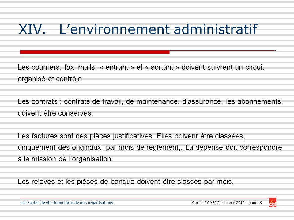 L'environnement administratif
