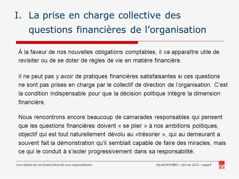 La prise en charge collective des questions financières de l'organisation