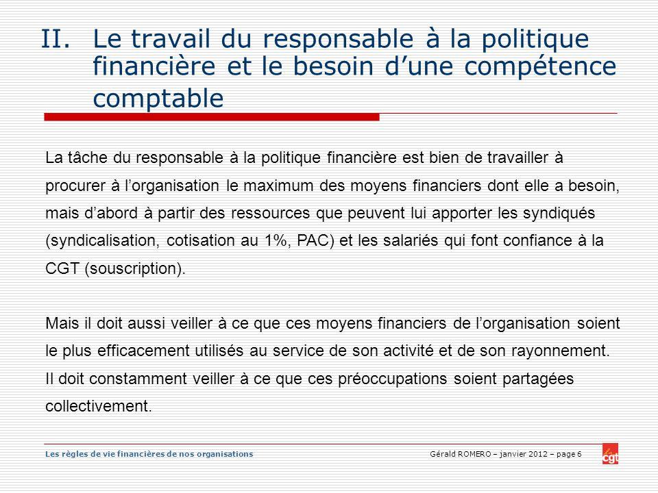 Le travail du responsable à la politique financière et le besoin d'une compétence comptable