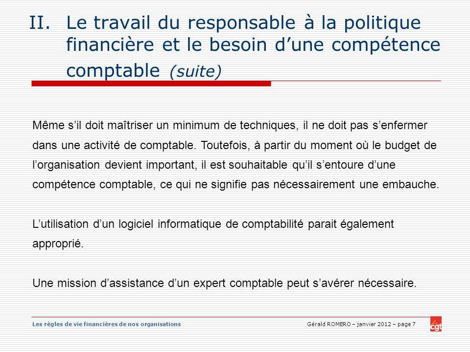 Le travail du responsable à la politique financière et le besoin d'une compétence comptable (suite)