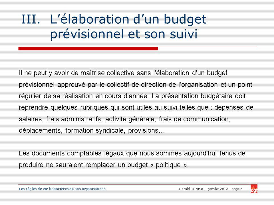 L'élaboration d'un budget prévisionnel et son suivi