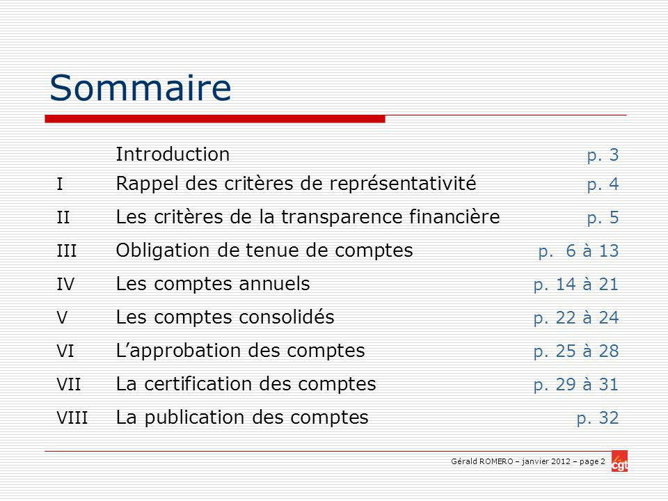 Sommaire Introduction p. 3