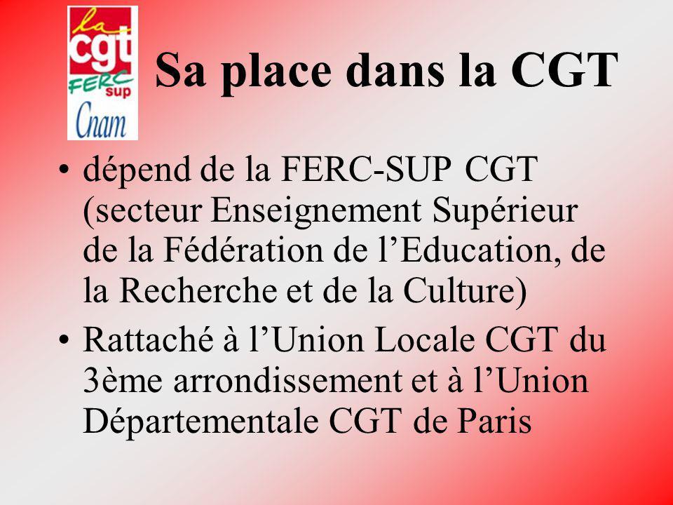 Sa place dans la CGT dépend de la FERC-SUP CGT (secteur Enseignement Supérieur de la Fédération de l'Education, de la Recherche et de la Culture)