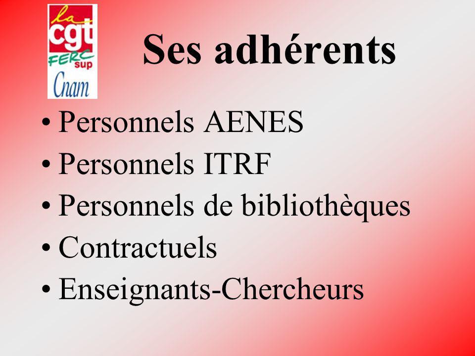 Ses adhérents Personnels AENES. Personnels ITRF.