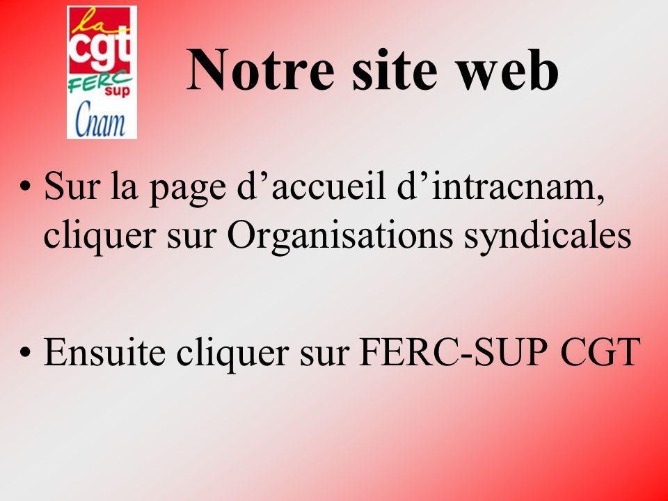 Notre site web Sur la page d'accueil d'intracnam, cliquer sur Organisations syndicales.