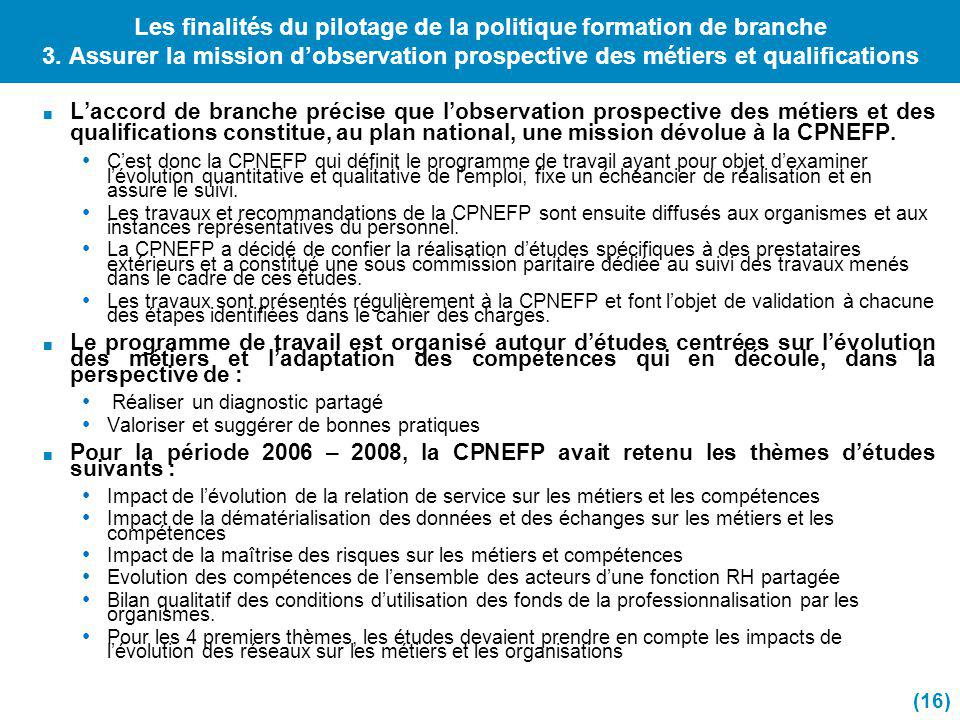 Les finalités du pilotage de la politique formation de branche 3