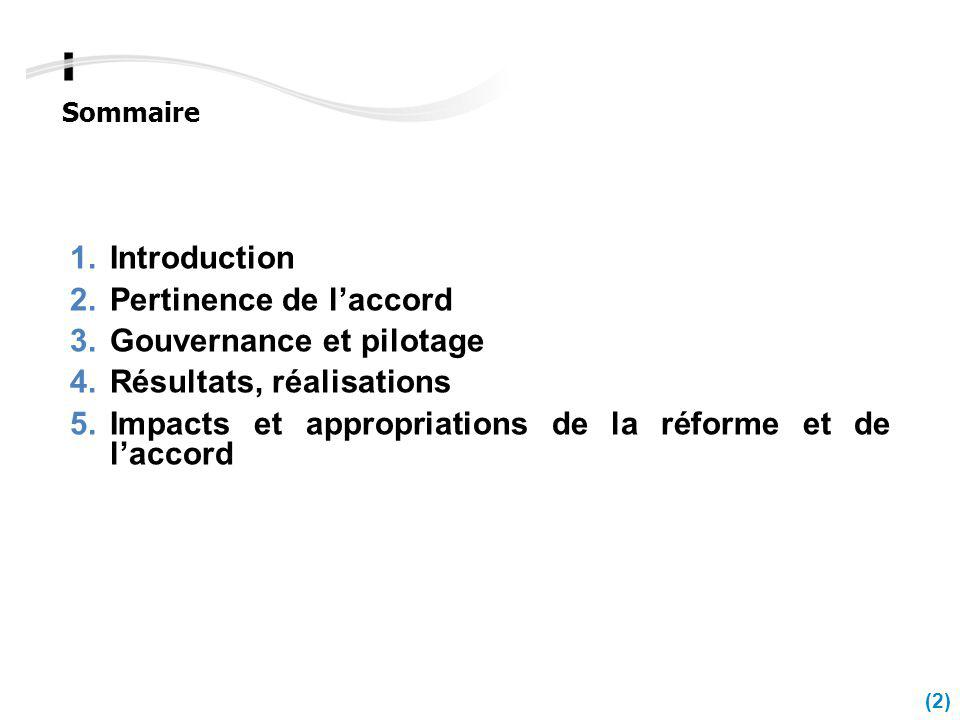 Introduction Pertinence de l'accord. Gouvernance et pilotage.