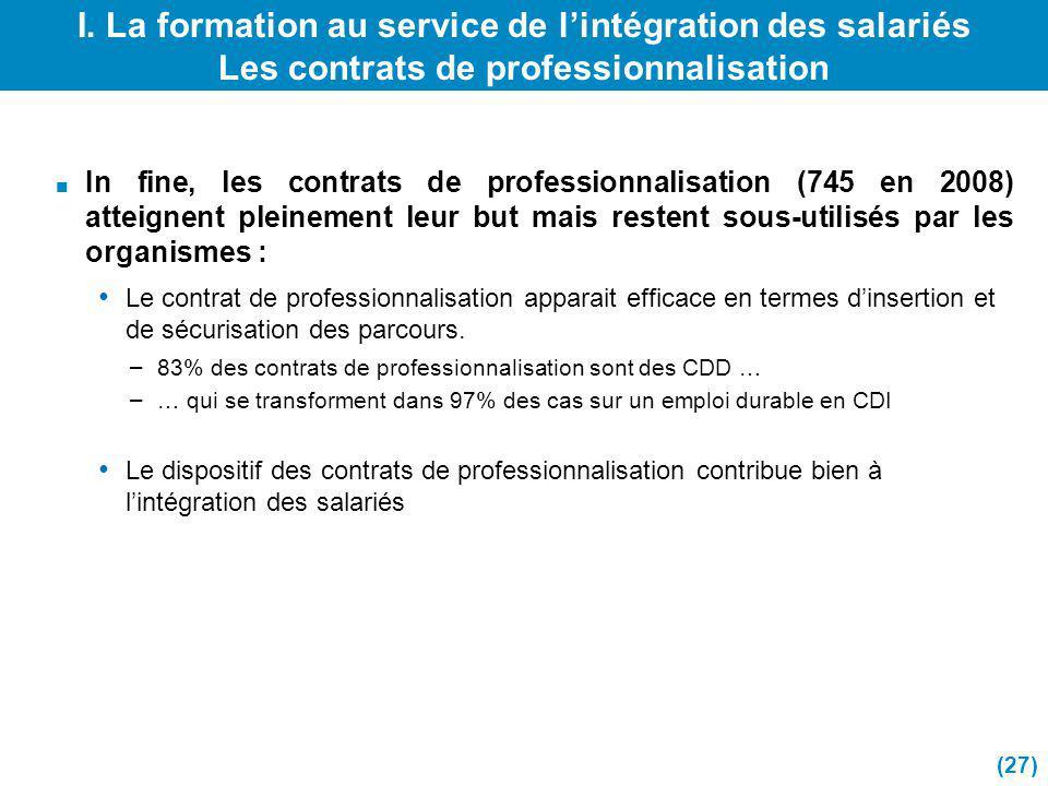 I. La formation au service de l'intégration des salariés Les contrats de professionnalisation