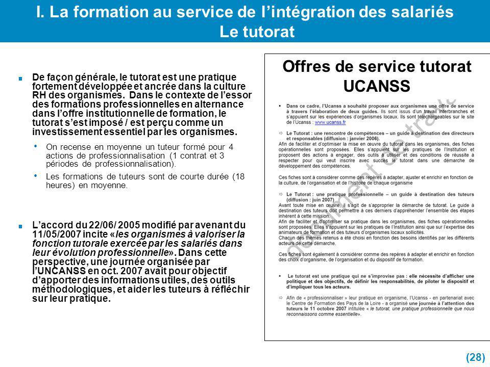 I. La formation au service de l'intégration des salariés Le tutorat