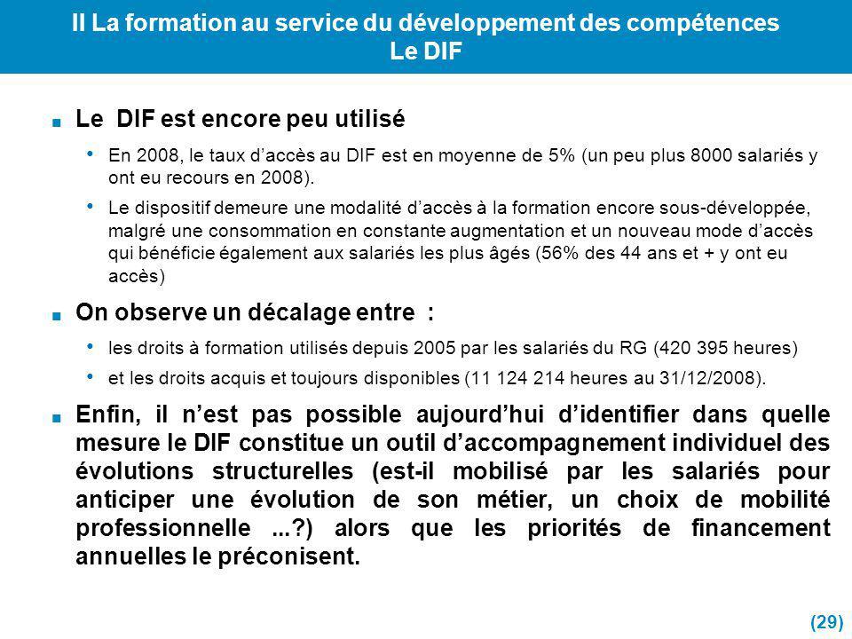 II La formation au service du développement des compétences Le DIF