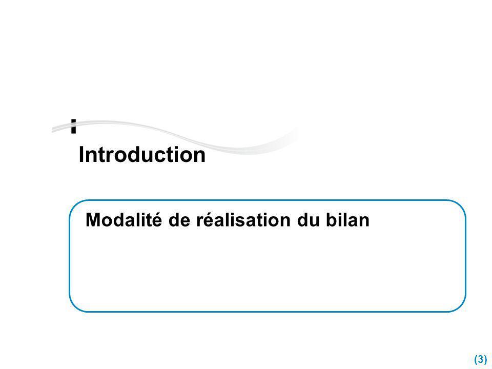 Introduction Modalité de réalisation du bilan